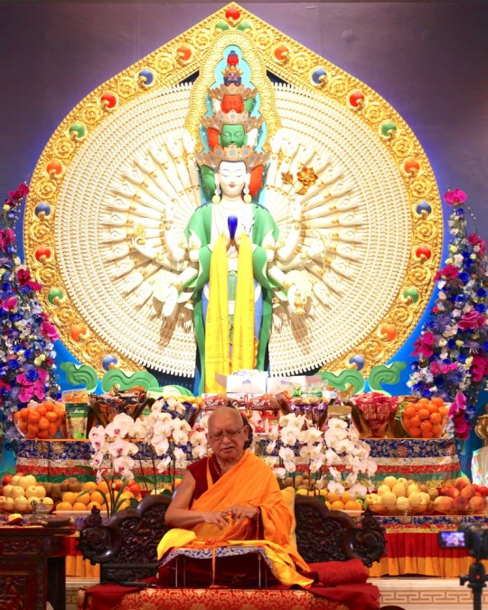 Lama Zopa Rinpoche teaching at Amitabha Buddhist Centre, Singapore, March 2016. Photo by Ven. Losang Sherab.