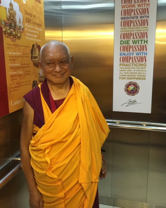 Lama Zopa Rinpoche at Amitabha Buddhist Centre, Singapore, March 2016. Photo by  Ven. Roger Kunsang.