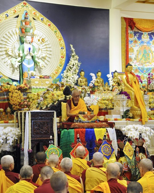 Rinpoche during long life puja, Amitabha Buddhist Centre, Singapore, March 13, 2016. Photo by Piero Sirianni.