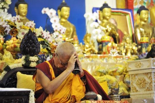 Lama Zopa Rinpoche during a long life puja at Amitabha Buddhist Centre, Singapore, March 13, 2016. Photo by Piero Sirianni.