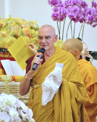Ven. Roger Kunsang at long life puja for Lama Zopa Rinpoche, Singapore, March 13, 2016. Photo by Piero Sirianni.
