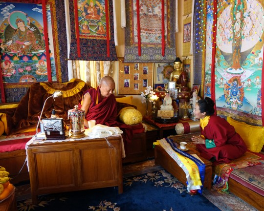 Lama Zopa Rinpoche and Khadro-la at Kopan Monastery, Nepal, February 2016. Photo by Ven. Roger Kunsang.