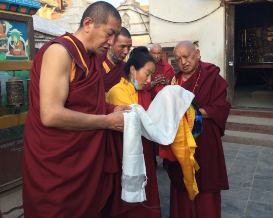 Lama Zopa Rinpoche and Khadro-la at Boudhanath, Nepal, February 2016