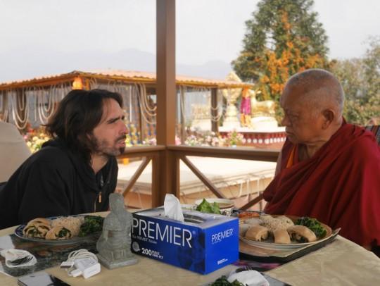 Lama Zopa Rinpoche having lunch with Tenzin Osel Hita, Kopan Monastery, Nepal, February 2016