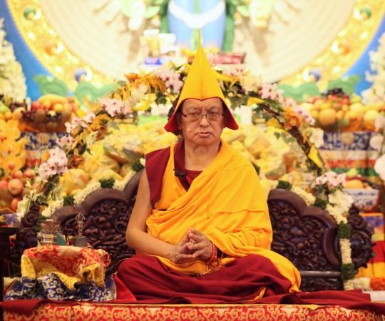 Lama Zopa Rinpoche at long life puja, Amitabha Buddhist Centre, Singapore, March 13, 2016