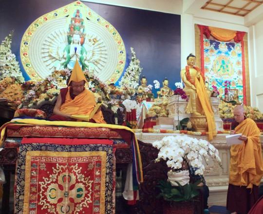 Lama Zopa Rinpoche read Khadro-la's prayer in Tibetan while Ven. Holly read aloud the prayer's English translation at the long life puja, Amitabha Buddhist Centre, Singapore, March 13, 2016