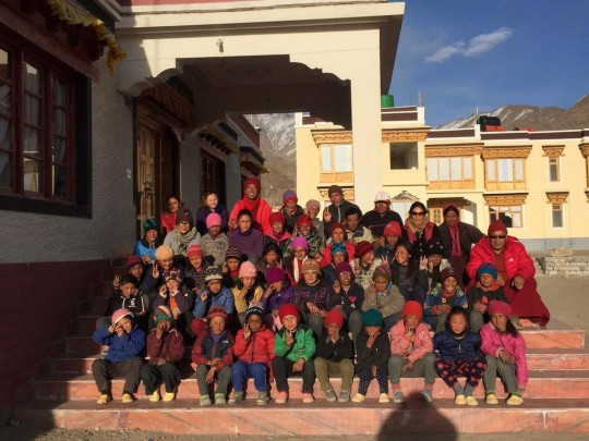 Students and staff of Ngari Institute, located  in the Himalayan Kingdom of Ladakh in a small village called Saboo.