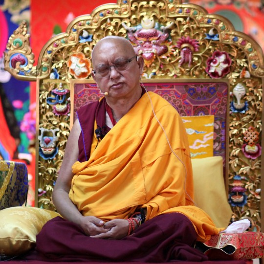 Lama Zopa Rinpoche teaching at Chokyi Gyaltsen Center, Malaysia, March 2016. Photo by Ven. Lobsang Sherab.