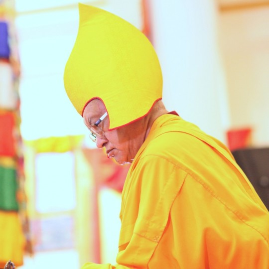 Lama Zopa Rinpoche at long life puja, Amitabha Buddhist Centre, Singapore, March 2016. Photo by Ven. Losang Sherab.