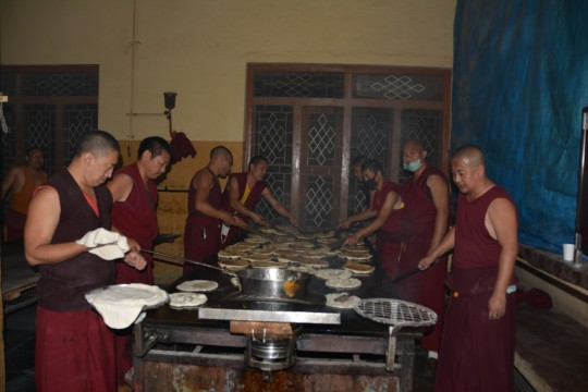 All of the bread had to be cooked on the grill before transporting it to Tashi Lhunpo Monastery.