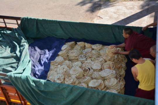 The bread is carefully packed and ready to be transported.