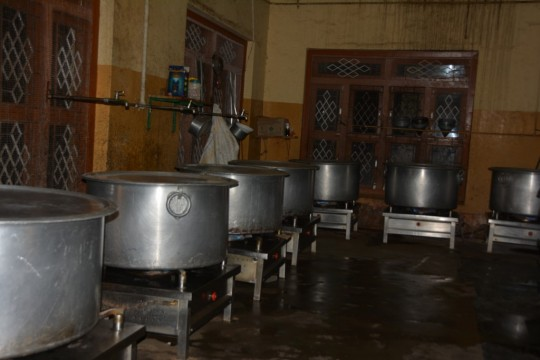 Giant pots were needed to prepare so much rice.