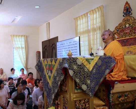 Lama Zopa RinpocheleadingextensiveMedicineBuddhaduringeclipseatChokyiGyaltsenCenterinPenang, Malaysia, March 2016. Photo by Ven. Lobsang Sherab.