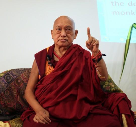 Lama Zopa Rinpoche teaching in Kuala Lumpur, Malaysia, March 2016. Photo by Ven. Lobsang Sherab.