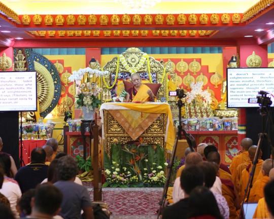 Lama Zopa Rinpoche at Losang Dragpa Centre, Kuala Lumpur, Malaysia, April 2016. Photo by Ven. Lobsang Sherab.