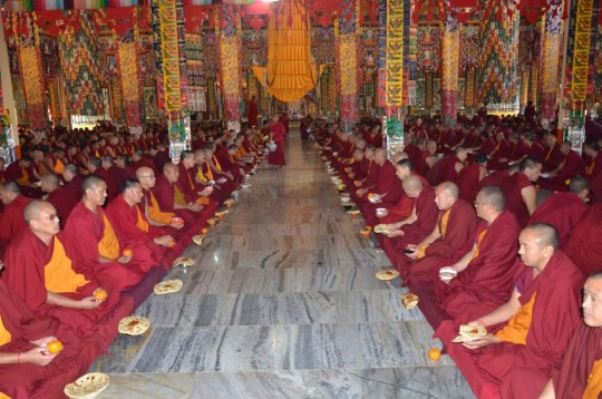 The monks gather in the gompa for lunch when there are prayers and pujas organized around lunch time.