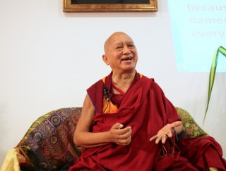 Lama Zopa Rinpoche during a talk given at Kasih Hospice Service, Malaysia, April 2016. Photo by Ven. Lobsang Sherab.