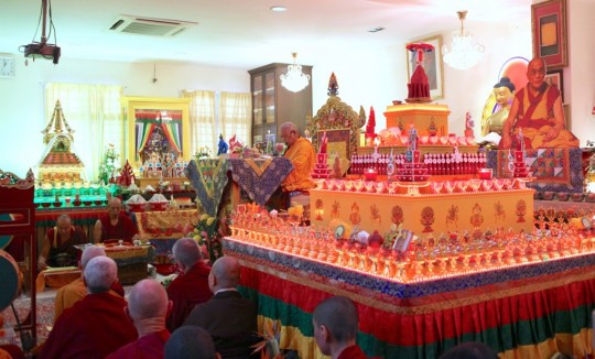 Rinpoche leading Hayagriva tsog kong puja at Chokyi Gyaltsen Center in Penang, Malaysia, March 2016. Photo by Ven. Losang Sherab.