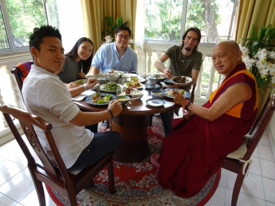 Lama Zopa Rinpoche having lunch with (from right) Tenzin Osel Hita, Chung Han and his wife,  and Gomo Tulku, Kuala Lumpur, Malaysia, April 2016. Photo by Ven. Roger Kunsang.