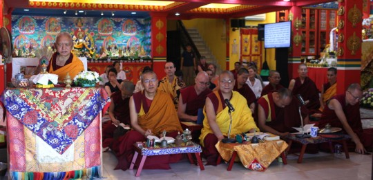 Rinpoche facing the garden inside the LDC gompa with Khen Rinpoche Geshe Chonyi, Geshe Tsungdu, Sangha and students doing a purification practice and also to bring rain, Kuala Lumpur, Malaysia, April 2016. Photo by Ven. Losang Sherab.