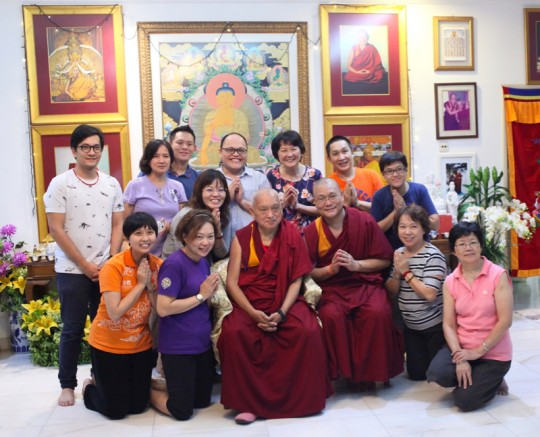 Rinpoche with Geshe Tsungdu and Losang Dragpa Centre's executive committee, Malaysia, April 2016. Photo by Ven. Lobsang Sherab.