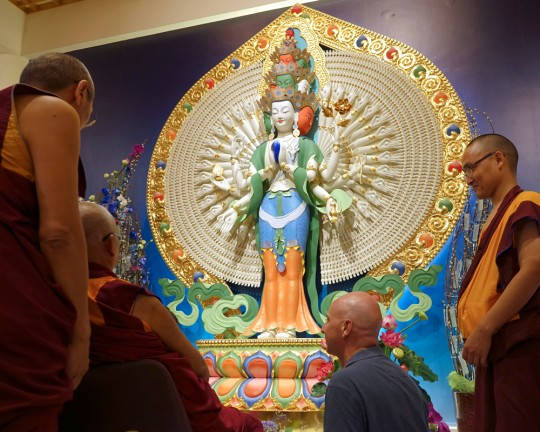 Lama Zopa Rinpoche (seated) with Khen Rinpoche Geshe Chonyi, Peter Griffin and Ven. Losang Sherab, Amitabha Buddhist Center, March 2016. Photo by Ven. Roger Kunsang. Rinpoche is looking at the recently completed Chenrezig statue, created by Peter and Denise Griffin.