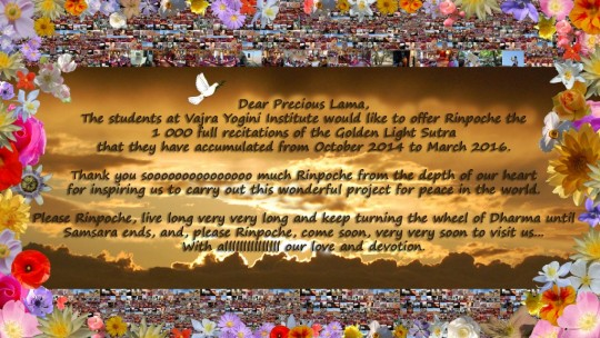Institut Vajra Yogini's offering to Lama Zopa Rinpoche