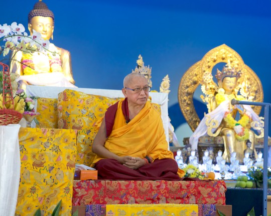 Lama Zopa Rinpoche teaching at Rinchen Jangsem Ling Retreat Center, Malaysia, April 2016. Photo by Bill Kane.