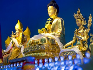 Statues on the altar at Rinchen Jangsem Ling, Malaysia, April 2016. Photo by Bill Kane.
