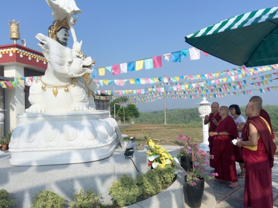 Lama Zopa Rinpoche touring the grounds around the gompa at Rinchen Jangsem Ling, which include white beautiful marble statues, like the pictures Dzambala, Malaysia, April 2016. Photo by Ven. Roger Kunsang.