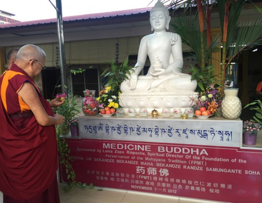 Lama Zopa Rinpoche had visited the home for the elderly before and had sponsored this statue of Medicine Buddha, Malaysia, April 2016. Photo by Ven. Roger Kunsang.