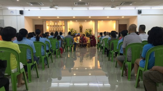 While at Triang, Rinpoche gave a teaching at a home for elderly people, Malaysia, April 2016. Photo by Ven. Roger Kunsang.