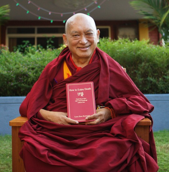Lama Zopa Rinpoche with 'How to Enjoy Death,' Osel Labrang, Sera Monastery, India, December 2015