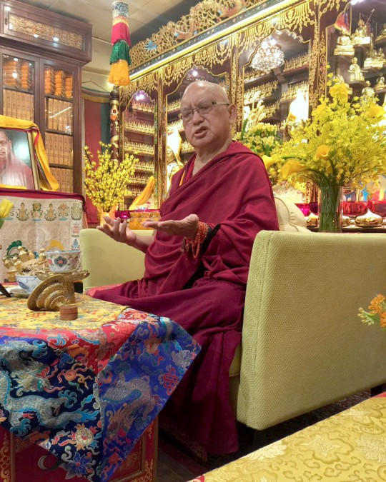 Lama Zopa Rinpoche at Cham Tse Ling, Hong Kong, April 2016. Photo by Ven. Roger Kunsang via Twitter.