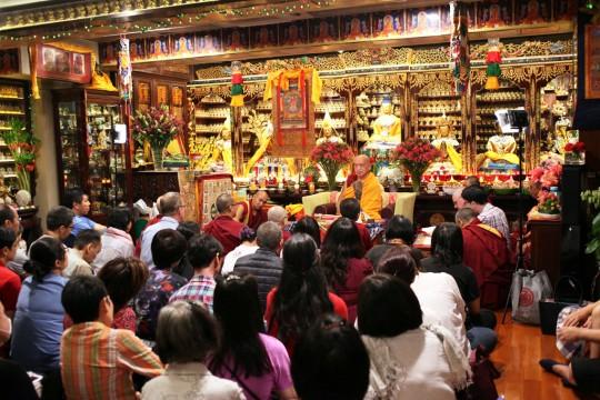 Rinpoche with students in the gompa at Cham Tse Ling, Hong Kong, April 2016. Photo by Ven. Losang Sherab.