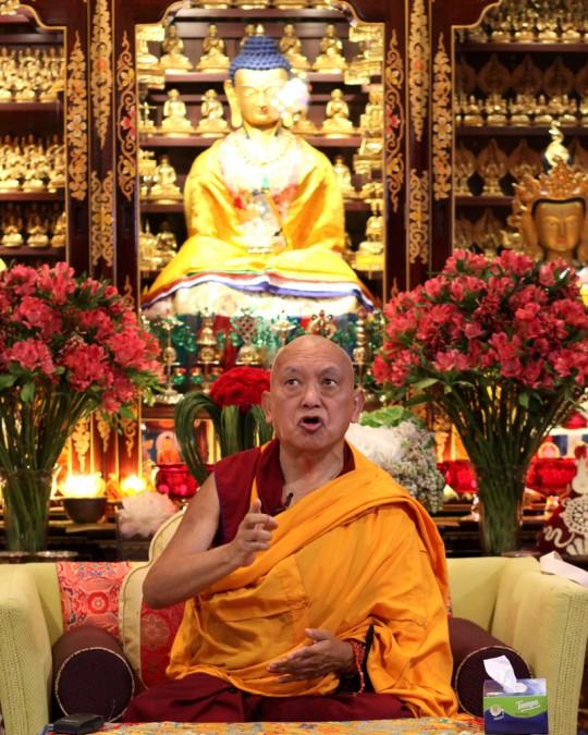 Rinpoche teaching at Cham Tse Ling, Hong Kong, April 2016. Photo by Ven. Losang Sherab.