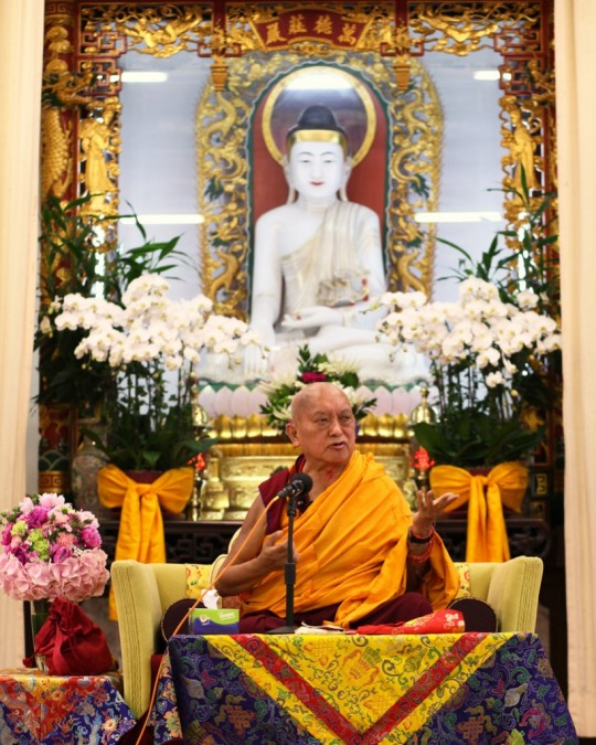 Lama Zopa Rinpoche during public teaching organized by Cham Tse Ling at Buddhist Wong Fung Ling College, Hong Kong, May 2016. Photo by Ven. Lobsang Sherab.