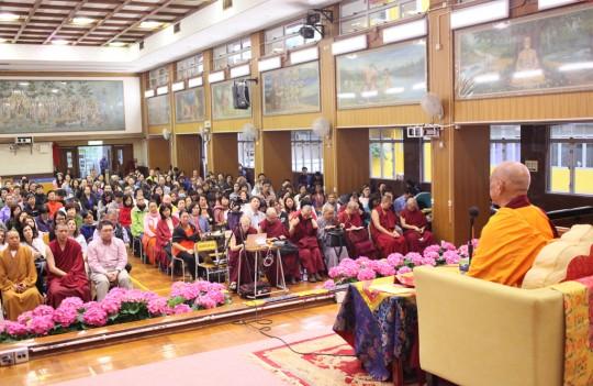 Lama Zopa Rinpoche during public teaching organized by Cham Tse Ling at Buddhist Wong Fung Ling College, Hong Kong, May 2016. Photo by Ven. Losang Sherab.