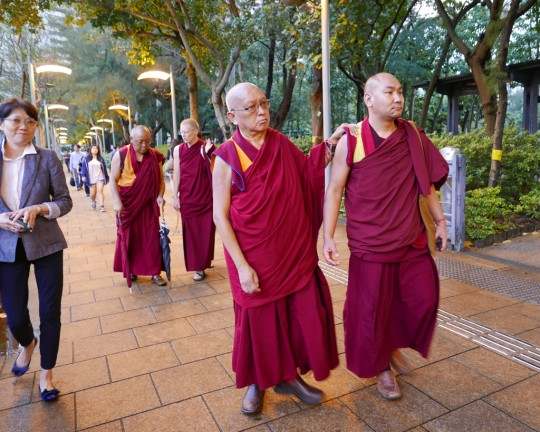 Lama Zopa Rinpoche getting some exercise in a park with (from left) Esther Ngai, Ven. Tenzin Pemba, Ven. Holly Ansett and Ven. Thubten Tendar, Hong Kong, April 2016. Photo by Ven. Roger Kunsang.