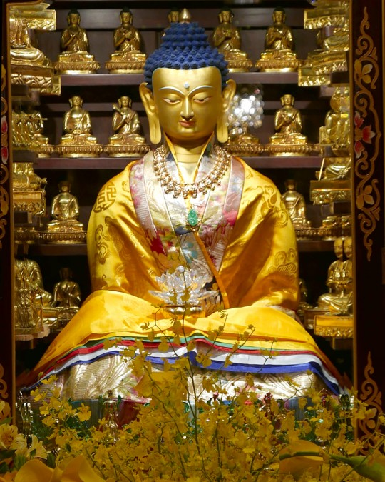 A close up of a statue that is part of Cham Tse Ling's beautiful and intricate altar, Hong Kong, April 2016. Photo by Ven. Roger Kunsang.