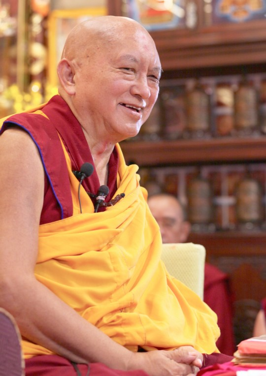 Lama Zopa Rinpoche at Cham Tse Ling, Hong Kong, April 2016. Photo by Ven. Lobsang Sherab.