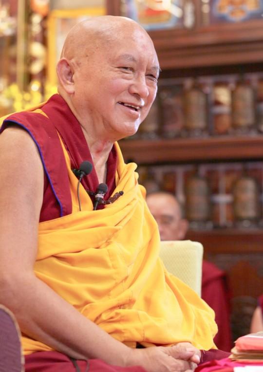 Lama Zopa Rinpoche at Cham Tse Ling, Hong Kong, April 2016. Photo by Ven. Losang Sherab.