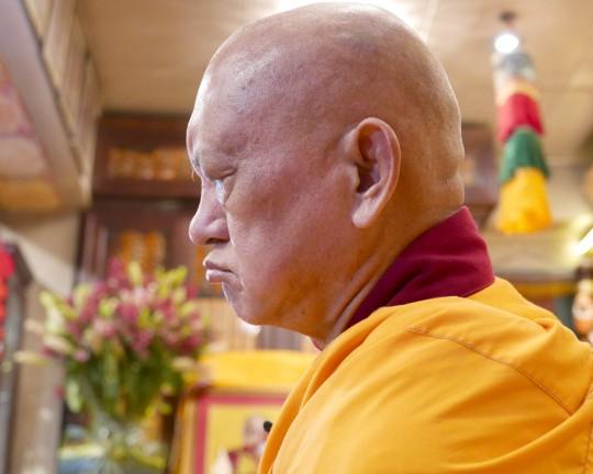 Lama Zopa Rinpoche at Cham Tse Ling, Hong Kong, April 2016. Photo by Ven. Roger Kunsang.