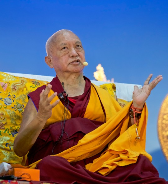 Lama Zopa Rinpoche teaching at Rinchen Jangsem Ling, Malaysia, April 2016. Photo by Bill Kane.
