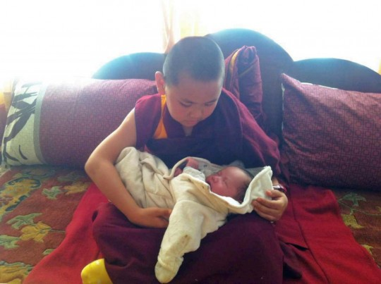 Tenzin Phuntsok Rinpoche with his baby brother, Tenzin Rigsel