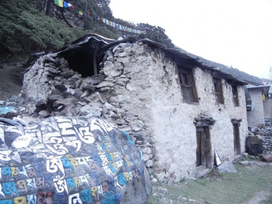Damage done to Lama Zopa Rinpoche's birth home.
