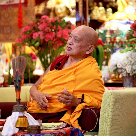 Lama Zopa Rinpoche teaching at Mahayana Buddhist Association, Hong Kong, May 2016. Photo by Ven. Lobsang Sherab.