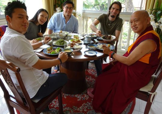 Osel enjoying lunch with Lama Zopa Rinpoche, Gomo Tulku, Chung Han and Tze Hua.