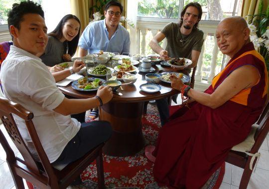 Osel enjoying lunch with Lama Zopa Rinpoche, Gomo Tulku, Chung Han and Tze Hua.