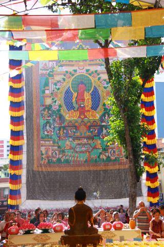 Amitabha Buddhist Centre's large thangka of Amitabha Buddha Pure Land, Singapore, May 2016. Photo by Louise Lu.